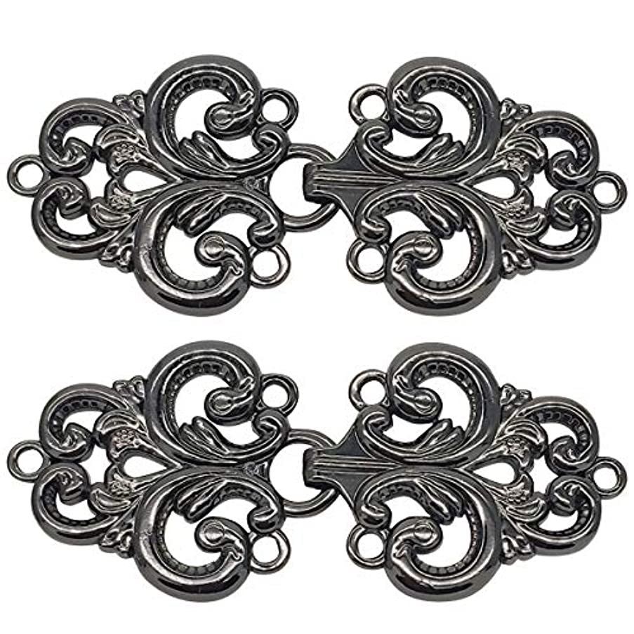 Monkey Rise 10 Pairs Retro Baroque Swirl Follower Pattern Cloak Clasp, Sew On Hooks and Eyes Cardigan Clip 68x38mm(Black)