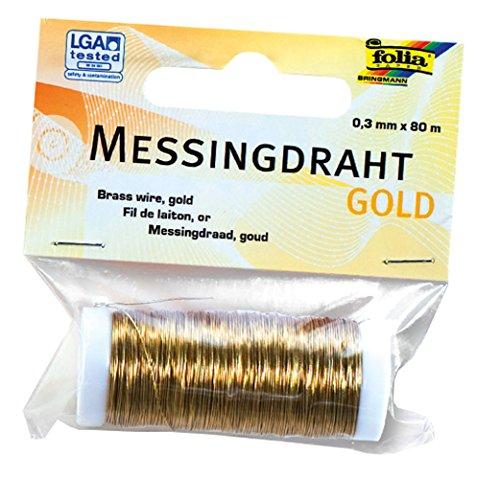 folia 79465 - Messingdraht, gold, 1 Spule 0,3 mm x 80 m - ideal für Bastelarbeiten, Gestecke und Schmuck
