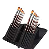 Laishutin Pintura del Cepillo del Sistema Nylon Hair Brush Set Acrílico Acuarela Pintura Pinceles Set 12pcs para los Principiantes, los Artistas (Color, Size : 12 pcs)