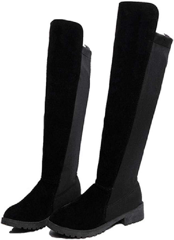 MZjJPN Women Platform Mid Calf Boots Autumn Low Heel shoes for Patchwork Chuky Heels Casual Footwear Botas