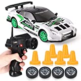 RC Drift Car 1/24 2.4GHz 4WD Remote Control Sport Racing On-Road Vehicle with LED Light, Batteries and Drift Tires (White GTR)