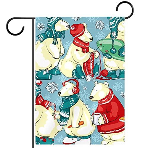 "cjg@shop Polar Bears Garden Flag Stand Banner Flagpole, Yard Garden Flag Pole - Holds Flags up to 12.5"" in Width for Outdoor Garden"