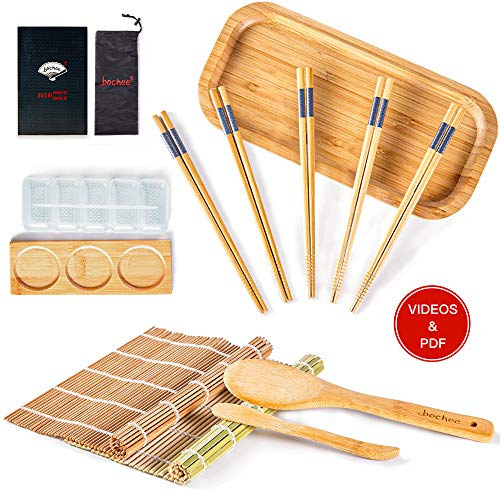 Bochee Sushi Set 14-tlg. Easy Sushi Maker Set und Teller Set mit Geschenkbox Video-Tutorials & Ebook, 2 Bambus Sushi Rollmatten, Sushi Maker, 5 X Essstäbchen, Platte, Teller, Paddel, Spreizer, Tasche