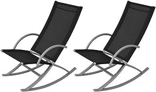 Garden Rocking Chairs (2 Pcs) - Black
