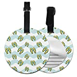 Women'sLuggageTags Colorful Beautiful Beach Slippers LuggageTagsforWomen BagTagsforLuggage with Adjustable Black Strap for Bags & Baggage with Privacy Protection for Women Men