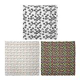ABAKUHAUS Pack de 3 Bandanas Unisex, Moderno monocromático cuadrados hojas en espiral geométrica abstracta Formas, Multicolor
