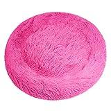 DanceWhale Panier Rond en Peluche Chien Coussin Chat Panier Donut Coussin pour lit de Chat Lavable(100cm, Rose)