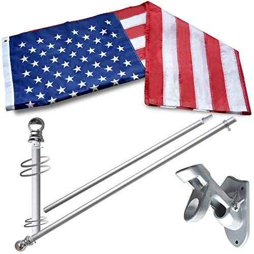Vedouci American 3x5 Flag Kit with Nylon Flag & Aluminum Pole & Metal Base, Embroidered Stars, Fade Resistant Commercial Grade US Flag