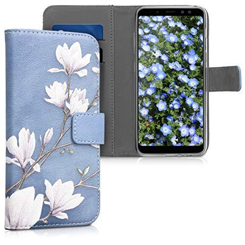 kwmobile Hülle kompatibel mit Samsung Galaxy A8 (2018) - Kunstleder Wallet Hülle mit Kartenfächern Stand Magnolien Taupe Weiß Blaugrau
