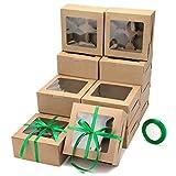 YaYadeer Cajas de Pasteles, 16piezas Caja Pasteleria 4agujeros Caja de Papel Marrón Kraft con Ventana Transparente y Inserto,16x16x7,5 cm Cajas para Galletas para Dulces,Cajas de Regalo Navidad
