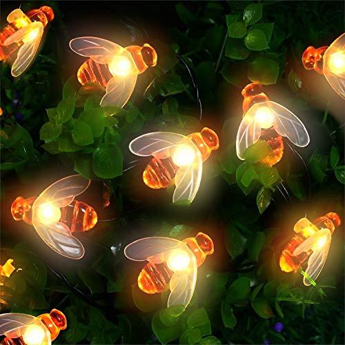 Solar Lichterkette Aussen, Mr.Twinklelight® 62 LED Bienen lichterkette Wasserdichte Dekorative lichterkette für Garten, Party, Hochzeit, Haus,Fest Deko Beleuchtung (Warmes Weiß)
