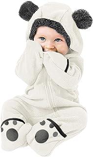 LUCKME LUCKME Baby Mädchen Jungen Einfarbig Cartoon Fleece Ohren Hoodie Strampler Kleidung Overall
