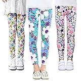 Z-Chen 3 Pares de Pantalones Leggings para Niñas Chicas Estampado de Flores, Color B, 12-13 Años