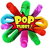 Novelty Place 6 Pack Pull & Pop Tube Sensory Fidget Toy for Kids and Adults,...