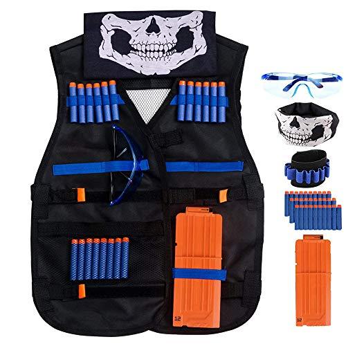 QiyuanLS Kids Tactical Vest Jacket Kit für die Nerf Gun N-Strike-Serie mit Nachfüllpfeilen Kugeln + Quick Reload Clips + Bullet Wrist Bands + Weste + Schal Maske + Schutzbrille
