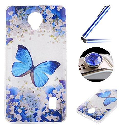 Huawei Y635 TPU Coque étui,Huawei Y635 Ultra-minces Silicone Doux Housse,Etsue Joli élégant Papillon Peint Motif Design Souple Gel avec Transparent Cadre de Housse Coque Coquille pour Huawei Y635 + 1x Bleu style + 1x Bling poussière plug (couleurs aléatoires) - élégant Papillon