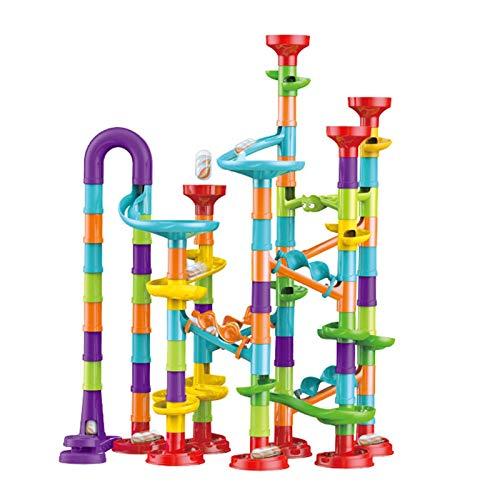 Marble Runs - 113 piezas Marble Run Toy (83 piezas de acción + 30 bolas de cristal), juego de pista de carreras de laberinto de mármol, bloques de construcción de construcción