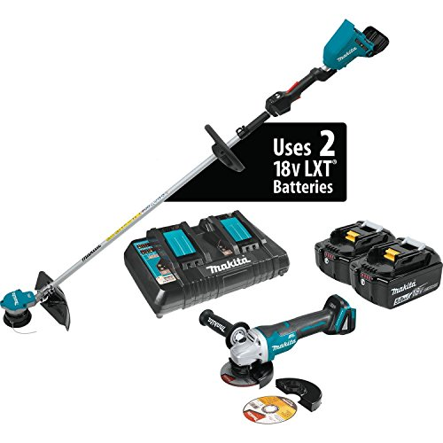 Makita XRU09PTX1 18V X2 (36V) LXT Lithium-Ion Brushless Cordless String Trimmer Kit (5.0Ah) and Brushless Angle Grinder