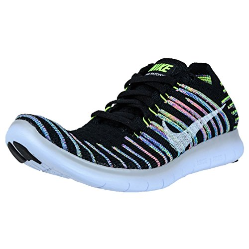 Nike Women's Free Running Motion Flyknit Shoes, Black/White-Volt-Blue Lagoon - 6 B(M) US