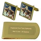 Select Gifts Navidad Tono Oro Gemelos Money Clip Grabado Set de Regalo