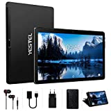 YESTEL Tablet 10 Pollici con WiFi 4GB RAM + 64GB ROM con Schermo IPS HD Quad Core Tablet PC | Fotocamera 8MP + 5MP | Dual LTE SIM | Tablets con Tastiera-Nero