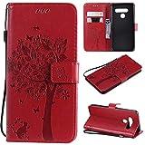 Nancen Compatible with Handyhülle LG K61 / LG Q61 / LG Q630 Hülle, Flip-Hülle Handytasche - Standfunktion Brieftasche & Kartenfächern - Baum & Katze - Crimson