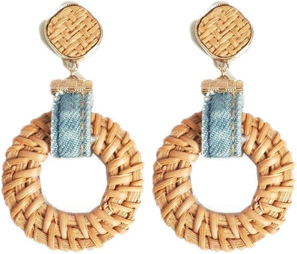 Handmade Denim Rattan Dangle Boho Earrings Denim rattan Earring Summer fashion Earrings