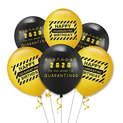 TICIAGA 30pcs Balloons for Quarantine Birthday Party, 12 Inch Thick Latex Balloons with Golden Ribbon for Helium Or Air Use, Quarantine Caution Birthday Decoration, 2020 Quarantine Bday Party Supplies