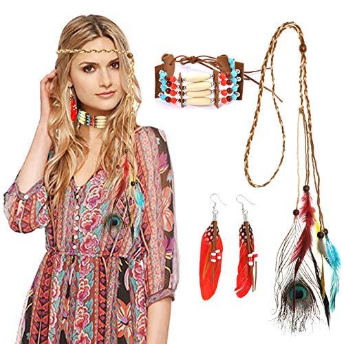 HOWAF Indianer Kopfschmuck Damen Indianer Stirnband Federschmuck Haarband indianisch Bohemian Haarschmuck und Indianer Halskette Ohrringe für Karnevals kostüme Zubehör Indianer kostüm Accessoire