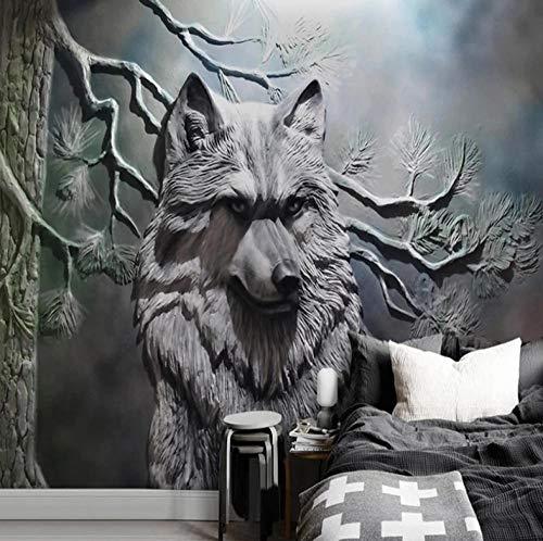 Papel Adhesivo Pared Animal De Escultura De Lobo Gris 250X175Cm Foto Wallpaper Comedor Sala De Estar Sofá Telón De Fondo Pintura De Pared Mural De Pared