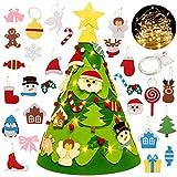 Fansport Árbol De Navidad Fieltro,DIY Decoración del Árbol De Navidad para Niños 28Pc 3D Árbol De Navidad Ornamento Juego De Árbol De Navidad Pequeño