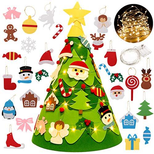Fansport Albero di Feltro di Natale per Bambini con 28 Ornamenti Christmas Craft Kit