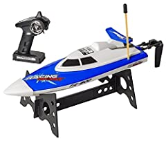 RUGGEDLY BUILT TO LAST- Our unique RC Boat Remote control boat is constructed with self-righting responsive unique design. It comes with water proof hull and anti-tilt modular design. Our game speed boat is built with impact-resistant ABS plastic par...