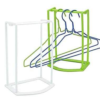 Standing Clothes Hanger Stacker Holder Drying Rack Caddy 2 pcs Premium Grade PP Tidier Laundry Room Closet Organizer Large Capacity Hold Up to 30 Plastic Material with Manual for Installation