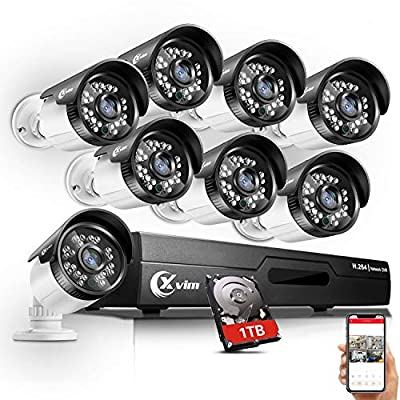 Home Security Camera System 8 Channel 1080P DVR with 1TB Hard Drive, 8PCS 1080P HD Wired Outdoor IP66 Weatherproof CCTV Surveillance Cameras with 100ft Night Vision.