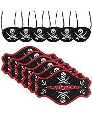 CHIFOOM 12PCS Accesorios para Niños Piratas, 6pcs Tarjetas de Sombrero Pirata y 6pcs Máscaras de Ojos Piratas para Tema Pirata Fiesta de Cumpleaños a Niños Maquillaje Fiesta Accesorios de Fotos