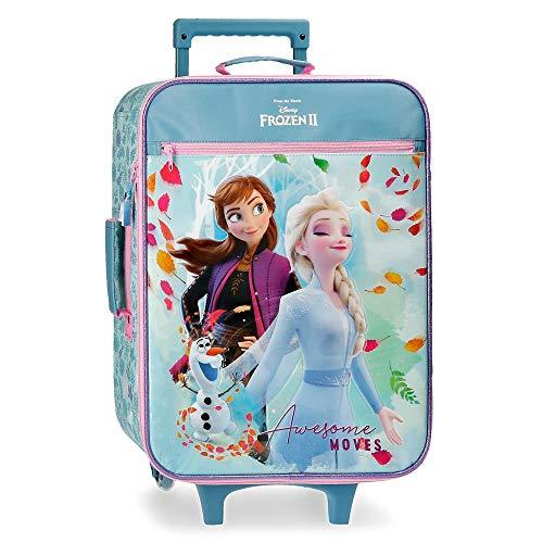 Disney Frozen Awesome Moves Maleta de Cabina Azul 35x50x16 cms Blanda Microfibra & PVC 25L 1,8Kgs 2 Ruedas Equipaje de Mano