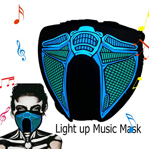 ShineWorld Led Light up El Music Rave Face Halloween Party Sound Active Glow Noen Custome DJ Funny Hiphop Mardi Gras Guy Fawks Masquerade Flash Men Mask for Dancing.Riding.Skating.Party&Festival