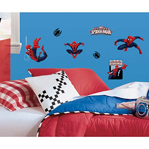 RoomMates Ultimate Spiderman Peel and Stick Wall Decals - RMK1795SCS,Multicolor,22 Wall Decals