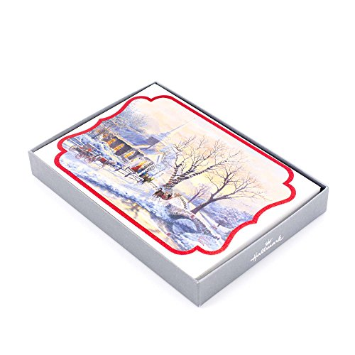 Hallmark Religious Boxed Christmas Cards, Thomas Kinkade Church (16 Cards and 17 Designed Envelopes)