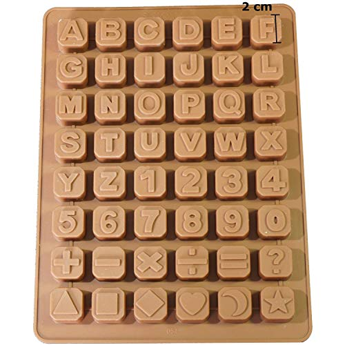 Jabón profesionales 48 letras Números carácter especial cubitos silicona Jabón molde color chocolate Forma (24 * 18 * 1,5 cm)