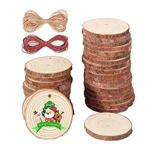 IPOW 5-6cm 35 Pz Dischetti Legno Grezzo Fette Legno Dischi Legno con 10m Corda Iuta + 10m Corda Vino Rosso Decorazioni Natalizie Decorazione per Natale Fai da Te Feste Matrimonio Segnaposto