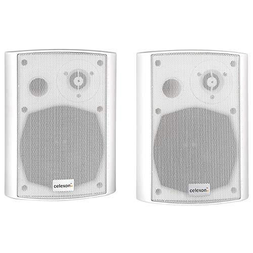 celexon Aktivlautsprecher-Set 525-B | 2x30W 2 Wege Aktivboxen | weiß | inkl. Wandhalterung | Boxen für PC, Büro oder Schule