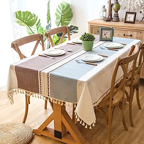 Pahajim Mantel Mesa Algodon Lino Manteles Cuadrada Diseño de Borlas Elegante Antimanchas Cubierta de Mesa Lavable Resistente para Decoración de la Mesa de Comedor(Rayas Café Azuladas,140x220cm)