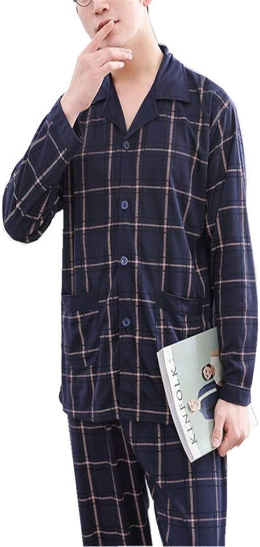 Lonimor Men Pajamas Spring Autumn Winter Cotton Home Service Suit
