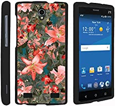 TurtleArmor   Compatible with ZTE ZMax 2 Case   ZMax 2 LTE Case   Z958 [Slim Duo] Slim Lightweight Snap On 2 Piece Hard Cover Protector Matte Girl on Black - Captivating Pink Floral