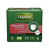 Depend Maximum Absorbency Adjustable Underwear, Small/Medium 18 ea (Pack of 3)