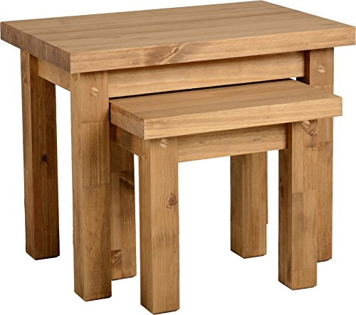 Seconique Tortilla Nest of 2 Tables, Distressed Waxed Pine, 465.95 x 671.95 x 161.94 cm