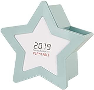DKX Pen Holder, Desk Calendar Multi-Function Storage Box, Calendar Creative Pentagram Decoration, Blue, White, Pink (Color : Blue)