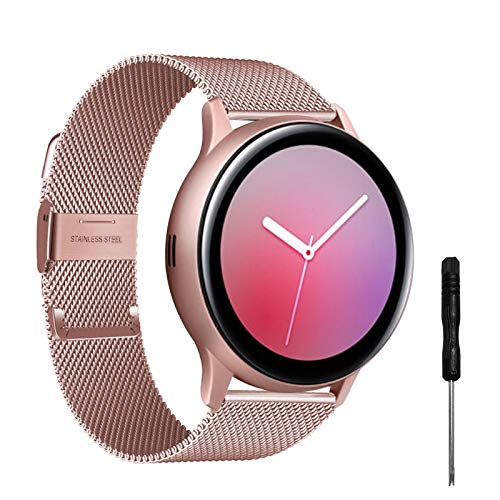 YHC Correas Compatible con Samsung Galaxy Watch Active 2,Pulsera de Reloj Tejida de Acero Inoxidable de 20mm para Galaxy Watch 42mm/Gear S2 Classic/Gear Sport (Rosa Rosa)